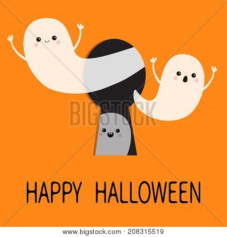 Black keyhole. Flying ghost spirit set. Happy Halloween. Three scary white ghosts key hole. Cute cartoon spooky character. Face frightening hands. Orange background. Greeting card. Flat design Vector