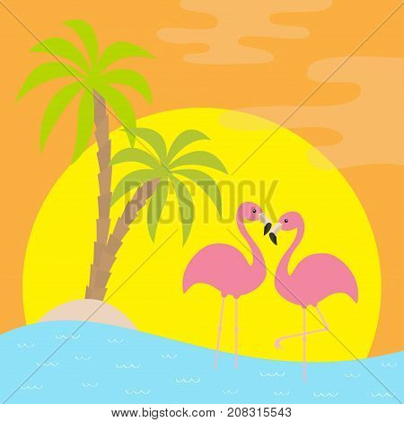 Two pink flamingo standing on one leg. Palms tree island ocean see water wave sun set. Exotic tropical bird. Zoo animal collection. Cute cartoon character Love Flat design Orange background Vector