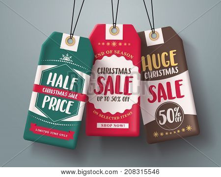 Christmas sale tags hanging vector set in different colors with huge sale and half price text for christmas holiday shopping promotions. Vector illustration.