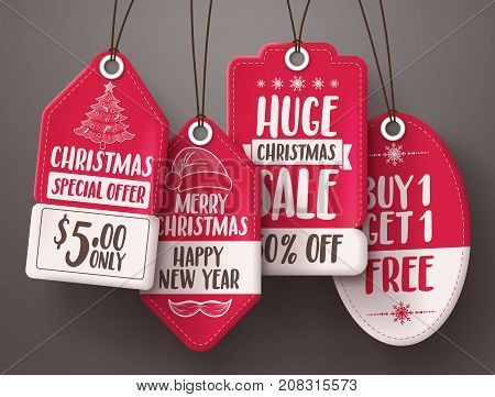 Christmas red sale tags vector set with different shapes and sale and discount text hanging for christmas seasonal promotions. Vector illustration.