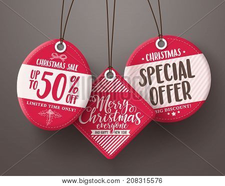 Red christmas sale tags vector set hanging with different sale and discount text for christmas holiday marketing promotions. Vector illustration.