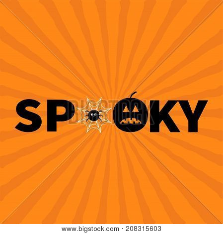 Word SPOOKY text with smiling sad black pumpkin silhouette. Spider net insect. Round cobweb. Happy Halloween. Greeting card. Flat design. Orange starburst sunburst background. Vector illustration