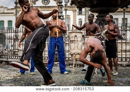 Group of people laying Capoeira in Salvador, Bahia, Brazil