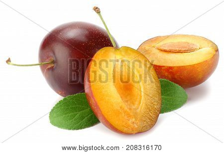 Fresh Plum Fruit With Green Leaf And Cut Plum Slices Isolated On White Background