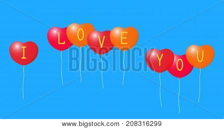 Balloons and the inscription I love you ..