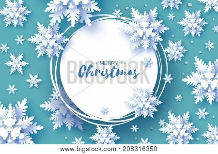 Origami Christmas Greetings card. Snowfall. Paper cut snow flake. Happy New Year. Winter snowflakes background. Circle frame. Space for text. White. Holidays. Vector illustration.