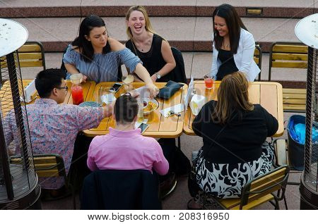 Sydney Australia - August 11 2017 : Visitors people enjoying party recreation at Sydney opera bar.near sydney opera house.