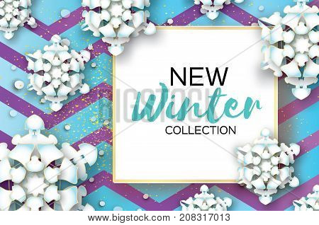 Origami Snowfall. Merry Christmas Greetings card. White Paper cut snow flake. Happy New Year. Winter snowflakes. Square frame. Text. Holidays. Blue zigzag background. Vector illustration.