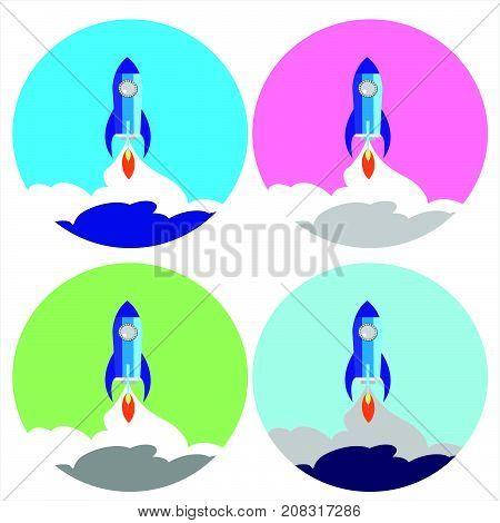 Flat Space Shuttle Rocket  Icon. set  Set four circle rocket icon.