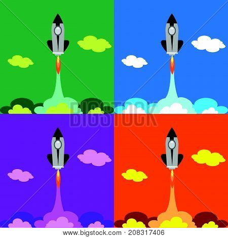 Set four flat Space Shuttle Rocket  Icon