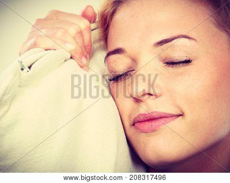 Happy Sleepy Woman Holding Cozy Pillow