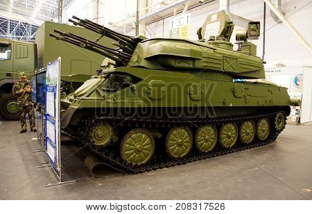 Kiev Ukraine - October 10 2017: Self-propelled anti-aircraft mount ZSU-23-4 at the XIV International Specialized Exhibition ARMS AND SECURITY 2017 October 10-13 2017
