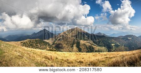 Panoramic View From Autumn Slovak Little Fatra Hills National Park