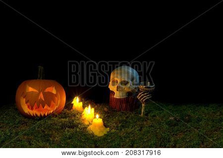 Halloween Pumpkin, Human Skull, Goblet And Candles Glowing In The Dark On A Forest Moss.