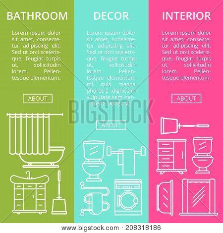 Bathroom interior decor flyers set in linear style. Home renovation design, modern apartment decoration. Washing machine, shower cabin, toilet, bathtub, towel dryer, washbasin vector illustration.