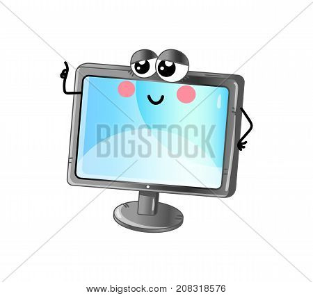Funny lcd tv isolated cartoon character. Modern appliance with emotional face, home electronic device comic mascot vector illustration.