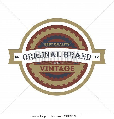 Old style original brand element. Premium quality badge, company retro symbol, product identity design vector illustration.