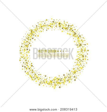 Golden star circlel. Abstract vector background with starry. The template for festivals, holiday and anniversary cards. Wallpaper.