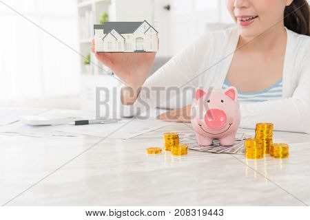 Beauty Young Woman Holding Little House Model