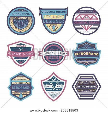 Creative vintage brand isolated label set. Premium quality badge, company or product retro identity design, business typography vector illustration. Creative old style branding element collection