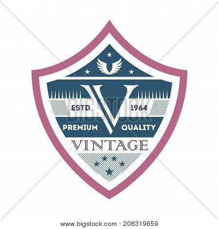 Creative branding element in vintage style. Premium quality badge, company retro symbol, product identity design vector illustration.