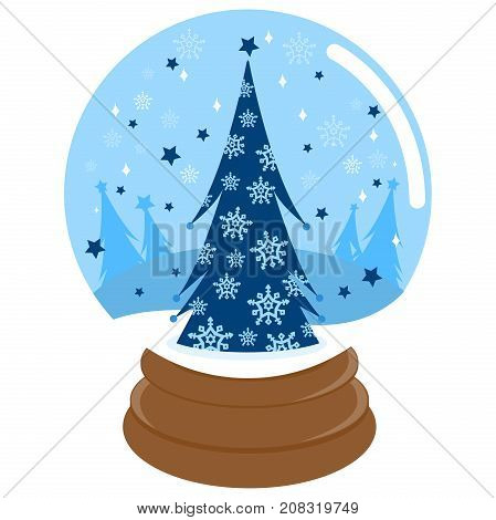 Christmas tree in a beautiful snowy landscape with inside a snow globe.
