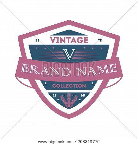 Creative vintage company identity element. Premium quality badge, company retro symbol, product identity design vector illustration.