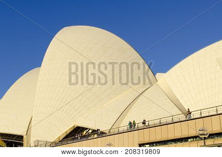 SYDNEY - AUGUST 16 2017. View of a detail of The Sydney Opera House in Sydney Australia on August 16 2017. Designed by Danish architect Jorn Utzon.