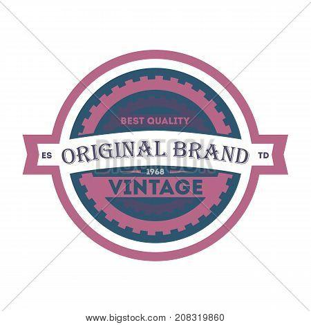 Original brand vintage isolated element. Premium quality badge, company retro symbol, product identity design vector illustration.