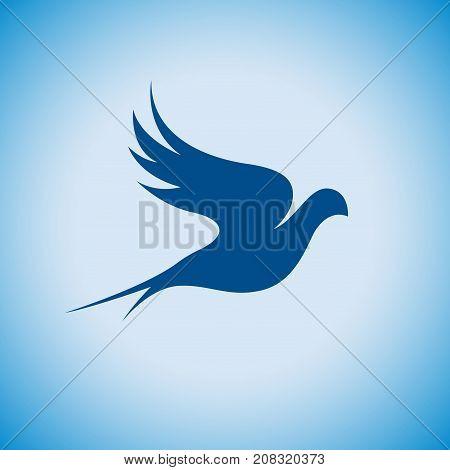 Vector sign abstract bird in flight on blue sky