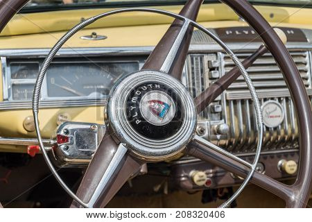 Vintage Plymouth Coupe 1940S  Interior - Steering Wheel With Logo And Dashboard