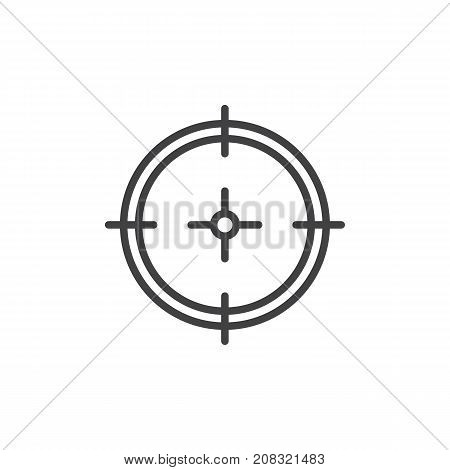 Aim line icon, outline vector sign, linear style pictogram isolated on white. Target symbol, logo illustration. Editable stroke