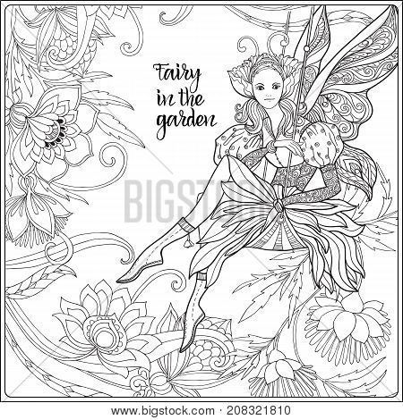 Fairy with butterfly wings on swing on medieval floral pattern background with space for text.   Vector illustration.  Coloring book for adult and older children. Outline drawing coloring page.