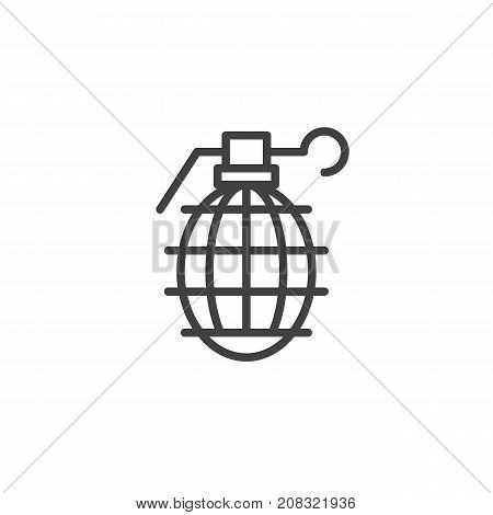 Grenade line icon, outline vector sign, linear style pictogram isolated on white. Frag symbol, logo illustration. Editable stroke