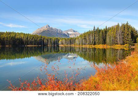 Beautiful landscape of Herbert lake in Banff national park