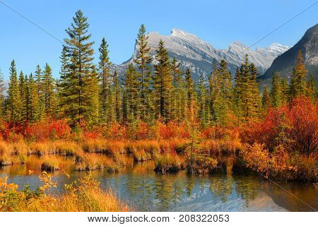 Scenic Vermilion lakes area at Banff national park Canada