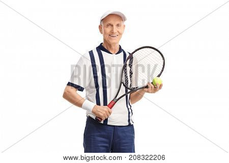 Senior with a racket and a tennis ball looking at the camera isolated on white background