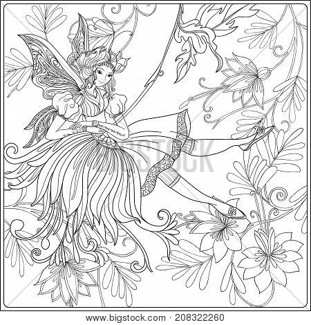 Fairy with butterfly wings on swing on medieval floral pattern background.   Vector illustration.  Coloring book for adult and older children. Outline drawing coloring page.
