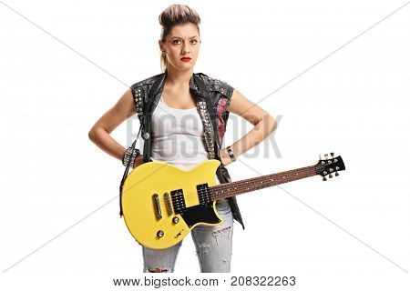 Angry female punker with an electric guitar isolated on white background