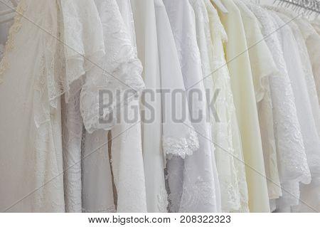 Beautiful Bridal Dress On A Hangers.