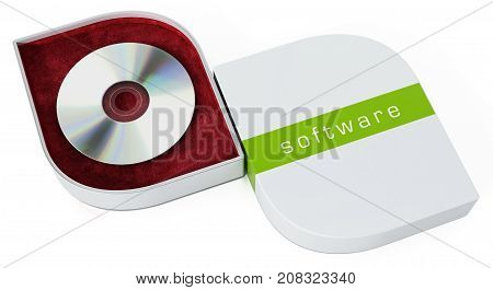 Software box with open cover isolated on white background. 3D illustration.