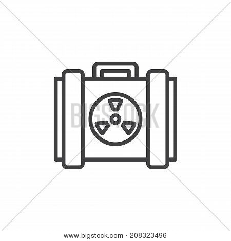 Nuclear case line icon, outline vector sign, linear style pictogram isolated on white. Symbol, logo illustration. Editable stroke