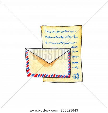 Envelope and letter by watercolors on white background. Paper letter watercolour handdrawn illustration. Vintage mail icon. Retro letter and air mail envelope. Mail post drawing. Doodle mail logo