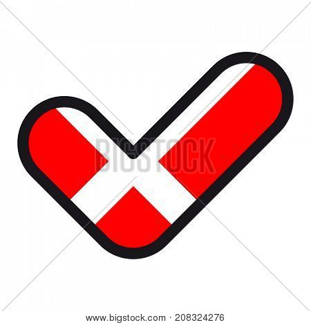 Flag of Denmark in the shape of check mark, sign approval, symbol of elections, voting.