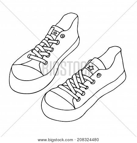 Canvas shoes. Pair of shoes isolated on white background. Hand drawn vector sketch