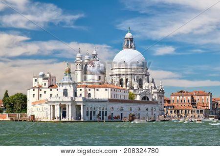 The Basilica di Santa Maria dellla Salute in Venice on a summer day