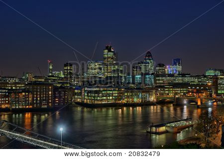 City Of London, England, Uk, Europe, Over The River Thames, At Nightfall