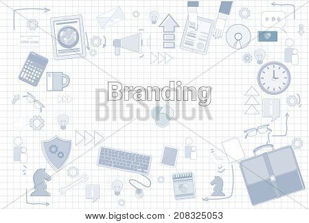 Branding Creation And Development Concept Keyword With Office Stuff Icon Over Squared Background Vector Illustration