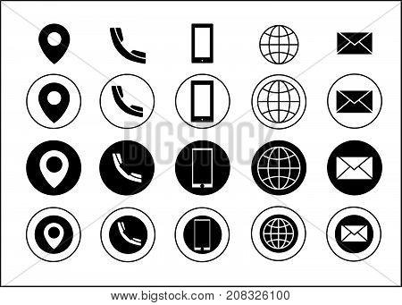 Vector Business Card Contact Information Icons Black