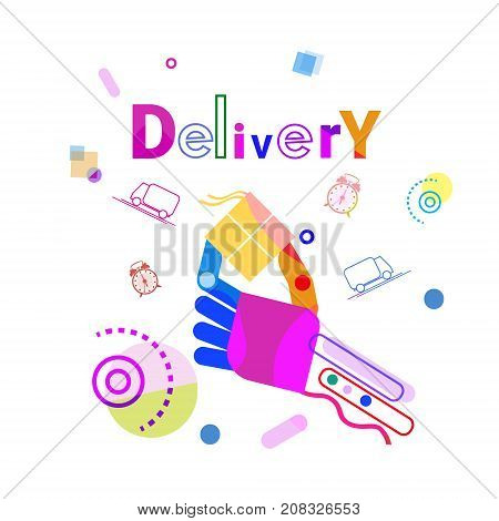 Hand Holding Box Delivery Concept Fast Courier Service Banner Vector Illustration